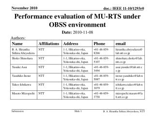 Performance evaluation of MU-RTS under OBSS environment