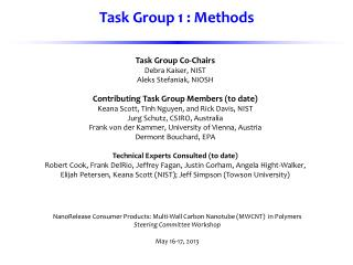 Task Group Co-Chairs Debra Kaiser, NIST Aleks Stefaniak, NIOSH