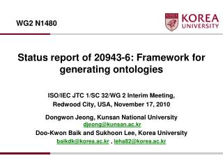 Status report of 20943-6: Framework for generating  ontologies