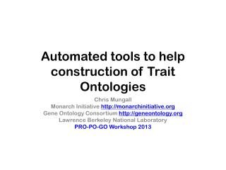 Automated tools to help construction of Trait Ontologies