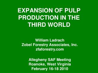 EXPANSION OF PULP PRODUCTION IN THE THIRD WORLD