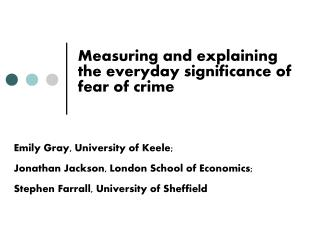 Measuring and explaining the everyday significance of fear of crime
