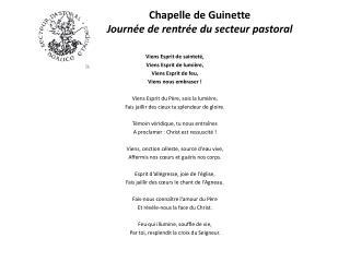 Chapelle de Guinette Journ�e de rentr�e du secteur pastoral