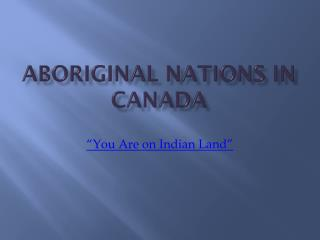 Aboriginal Nations in Canada
