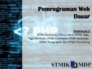 Pemrograman  Web  Dasar