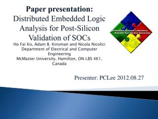 Presenter:  PCLee  2012.08.27