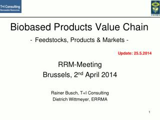 Biobased Products Value Chain - Feedstocks, Products &  Markets  -