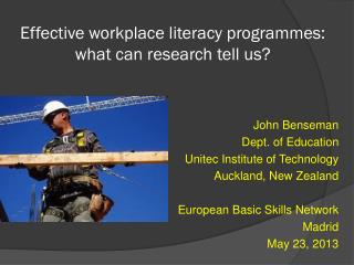 Effective workplace literacy programmes:  what can research tell us?