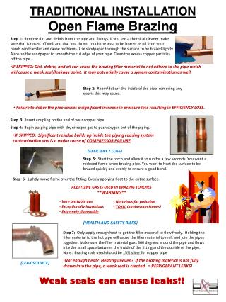 TRADITIONAL INSTALLATION  Open Flame Brazing