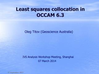 Least squares collocation in OCCAM 6.3