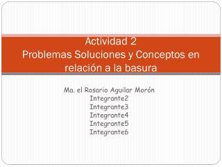Actividad 2 Problemas Soluciones y Conceptos en relación a la basura