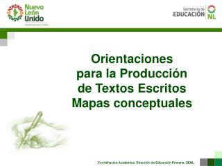 Orientaciones  para la Producción  de Textos  E scritos Mapas conceptuales