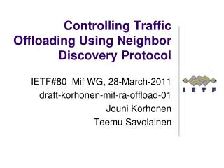 Controlling Traffic Offloading Using Neighbor Discovery Protocol
