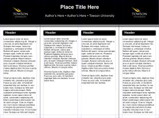 Place Title Here Author's Here    Author's Here    Towson University
