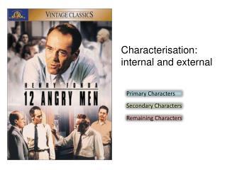Characterisation:  internal and external