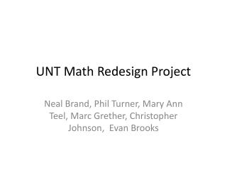 UNT Math Redesign Project