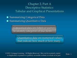 Chapter 2, Part A Descriptive Statistics: Tabular and Graphical Presentations