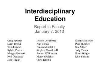 Interdisciplinary  Education