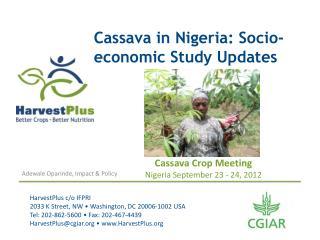 Cassava in Nigeria: Socio-economic Study Updates
