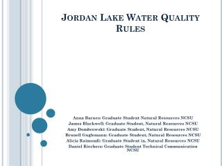 Jordan Lake Water Quality Rules