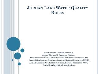 Jordan Lake Water Quality Rules
