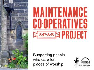 Supporting people who care for places of worship