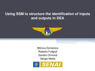 Using  SSM to  structure the identification of  inputs  and  outputs in DEA