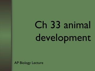 Ch 33 animal development