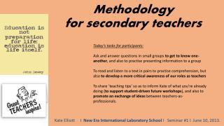 Methodology for secondary teachers