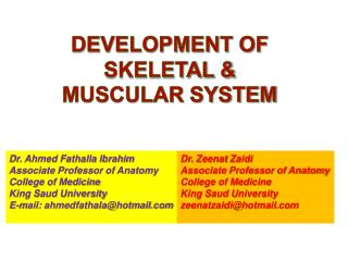 Dr. Ahmed Fathalla Ibrahim Associate Professor of Anatomy College of Medicine King Saud University