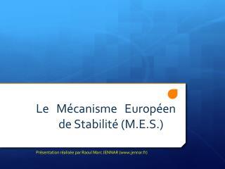 Le Mécanisme Européen de Stabilité ( M.E.S.)