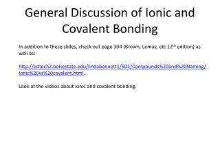 General Discussion of Ionic and Covalent Bonding