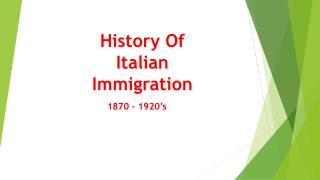 History Of Italian Immigration