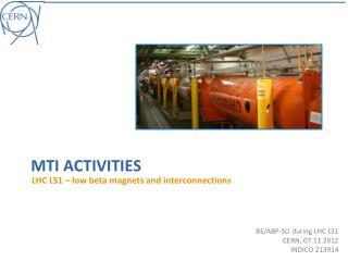BE/ABP-SU  during  LHC LS1 CERN, 07.11.2012 INDICO 213914