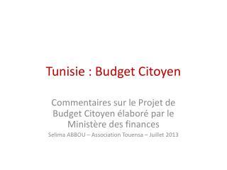 Tunisie : Budget Citoyen