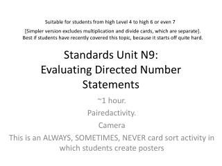 Standards Unit  N9 : Evaluating Directed Number Statements