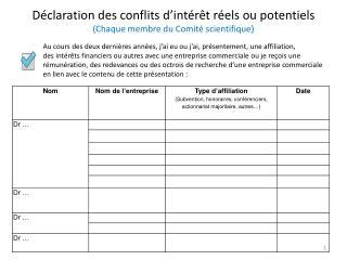 Déclaration des conflits d'intérêt réels ou potentiels (Chaque membre du Comité scientifique)