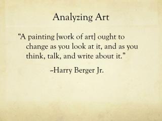 Analyzing Art