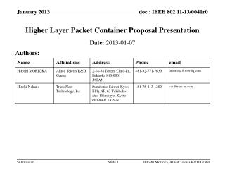 Higher Layer  Packet Container  Proposal Presentation