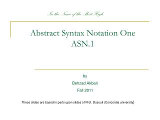 Abstract Syntax Notation One ASN.1