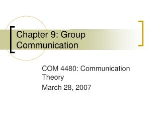 Chapter 9: Group Communication