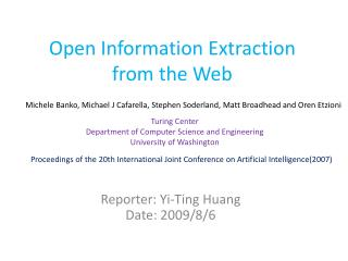 Open Information Extraction from the Web