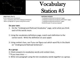 Vocabulary Station #5