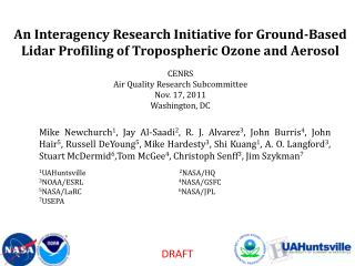 I. Motivation  for prototype ozone lidar network measurements