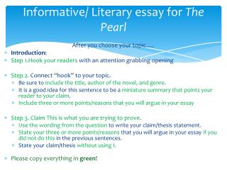 Informative/ Literary essay for  The Pearl