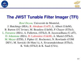 The JWST Tunable Filter Imager (TFI)
