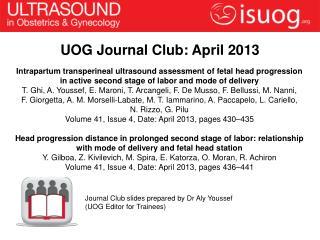 UOG Journal Club: April 2013