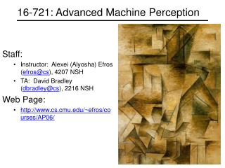 16-721: Advanced Machine Perception
