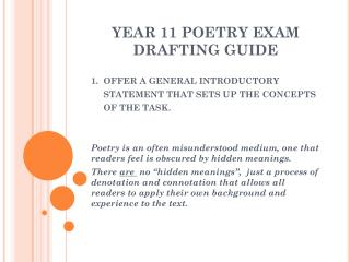 YEAR 11 POETRY EXAM DRAFTING GUIDE