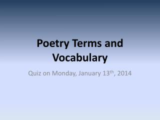 Poetry Terms and Vocabulary